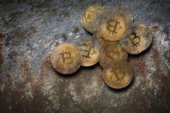 Bitcoin cryptographie d'exploitation photographie stock libre de droits