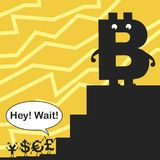 Bitcoin. Currencies do not keep pace with the fast-growing bitcoin Stock Photography