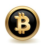 Bitcoin Currency Button vektor illustrationer
