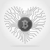 Bitcoin currency chip. Vector illustration. Bitcoin digital currency icon with circuit board elements. Vector illustration. Bitcoin icon in a flat designs Stock Images