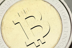 Bitcoin. Currency closeup financial concept royalty free stock photography
