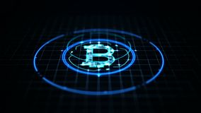 Bitcoin currency concept: Bitcoin icon on digital data background.