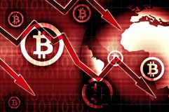 Bitcoin currency crisis red background illustration Royalty Free Stock Photography