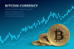 Bitcoin currency. Crypto coin with growth chart. International stock exchange. Network bitcoin marketing vector banner. Illustration of chart exchange currency vector illustration