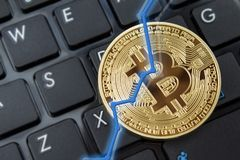 Bitcoin currency and dollar. BTC market symbol cryptocurrency r royalty free stock photo