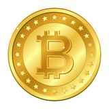 Bitcoin currency gold coin with stars. Mining. Cryptocurrency. Vector illustration isolated on white background. Editable elements. And glare. Also suitable for Stock Image