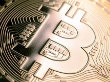 Bitcoin currency macro Royalty Free Stock Photos