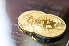 Bitcoin currency rising arrow price record highs with golden bitcoin. Market analyze. stock photography