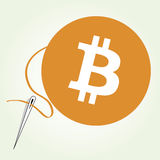 Bitcoin currency sewing. Illustration of a sewing bitcoin currency process. Additional vector file in separate layers is available for download Royalty Free Stock Images