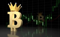Bitcoin currency sign and financial graph. Stock Photo