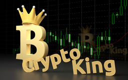 Bitcoin currency sign and text CryptoKing. Royalty Free Stock Image