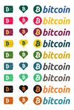 Bitcoin logo colorful design elements Royalty Free Stock Image