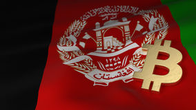 Bitcoin Currency Symbol on Flag of Afghanistan Stock Photos