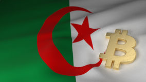 Bitcoin Currency Symbol on Flag of Algeria Stock Image