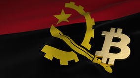 Bitcoin Currency Symbol on Flag of Angola Royalty Free Stock Images