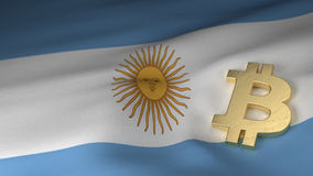 Bitcoin Currency Symbol on Flag of Argentina Stock Photography