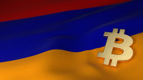 Bitcoin Currency Symbol on Flag of Armenia Royalty Free Stock Photography