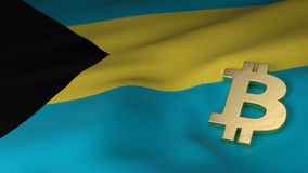 Bitcoin Currency Symbol on Flag of Bahamas Stock Photos