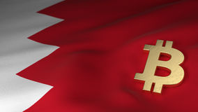 Bitcoin Currency Symbol on Flag of Bahrain royalty free illustration