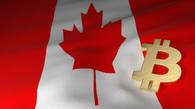 Bitcoin Currency Symbol on Flag of Canada. Bitcoin Currency Symbol on the Flag of Canada Royalty Free Stock Image