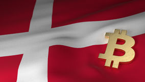 Bitcoin Currency Symbol on Flag of Denmark vector illustration