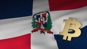 Bitcoin Currency Symbol on Flag of Dominican Republic Stock Photo