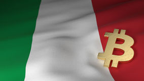 Bitcoin Currency Symbol on Flag of Italy. Bitcoin Currency Symbol on the Flag of Italy Royalty Free Stock Image