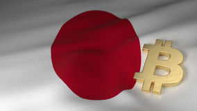 Bitcoin Currency Symbol on Flag of Japan. Bitcoin Currency Symbol on the Flag of Japan Stock Photo