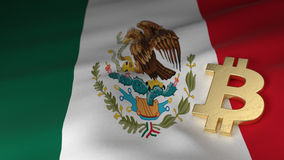 Bitcoin Currency Symbol on Flag of Mexico Royalty Free Stock Photos