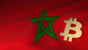 Bitcoin Currency Symbol on Flag of Morocco. Bitcoin Currency Symbol on the Flag of Morocco Royalty Free Stock Photo