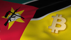 Bitcoin Currency Symbol on Flag of Mozambique Royalty Free Stock Images