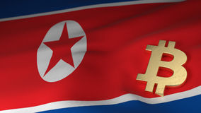 Bitcoin Currency Symbol on Flag of North Korea Stock Photography