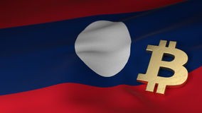 Bitcoin Currency Symbol on Flag of PDR Lao Royalty Free Stock Photo