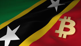 Bitcoin Currency Symbol on Flag of Saint Kitts and Nevis Stock Images