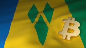 Bitcoin Currency Symbol on Flag of Saint Vincent and the Grenadi Royalty Free Stock Photo