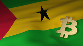 Bitcoin Currency Symbol on Flag of Sao Tome and Principe. Bitcoin Currency Symbol on the Flag of Sao Tome and Principe Royalty Free Stock Photo