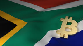Bitcoin Currency Symbol on Flag of South African stock image