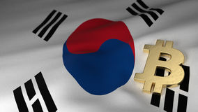 Bitcoin Currency Symbol on Flag of South Korea Stock Photos