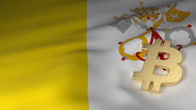 Bitcoin Currency Symbol on Flag of Vatican City Royalty Free Stock Images