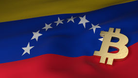 Bitcoin Currency Symbol on Flag of Venezuela. Bitcoin Currency Symbol on the Flag of Venezuela Royalty Free Stock Photos