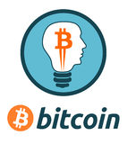 Bitcoin currency logo light bulb. Vector illustration of bitcoin currency logo in a light bulb in form of human head in blue white  and orange colours with white Royalty Free Stock Image