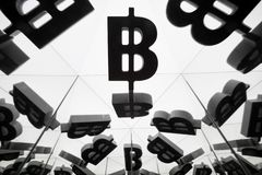 Bitcoin Currency Symbol With Many Mirroring Images of Itself stock images