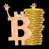Bitcoin cute cartoon. Vector illustration Royalty Free Stock Image