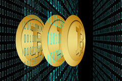 Bitcoin & cyan color binary code Royalty Free Stock Photography