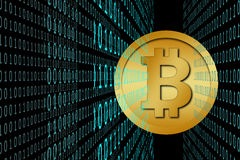 Bitcoin & cyan color binary code Royalty Free Stock Photo