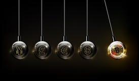 Bitcoin cyfrowa waluta, dolar, euro, funtowy szterling, jen i Juan w formie newton kołyska, fintech światu finanse pojęcie ilustracja wektor