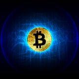 Bitcoin cyfrowej waluty pieniądze futurystyczna cyfrowa technologia wo Obraz Stock