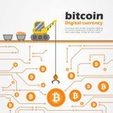 Bitcoin Cyfrowy waluta z Ciężarowymi żurawiami Kopie dla monet w cyfrowym zmielonym wektorowym projekcie royalty ilustracja