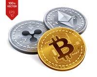 Bitcoin czochra Ethereum 3D badania lekarskiego isometric monety Crypto waluta Cyfrowej waluta Srebro i złote monety z bitcoin, r royalty ilustracja