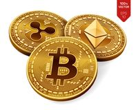 Bitcoin czochra Ethereum 3D badania lekarskiego isometric monety Cyfrowej waluta Crypto waluta Złote monety z bitcoin, czochrą i  ilustracja wektor